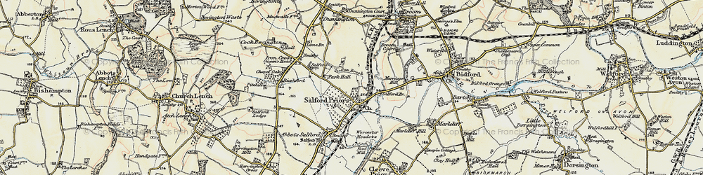 Old map of Salford Priors in 1899-1901