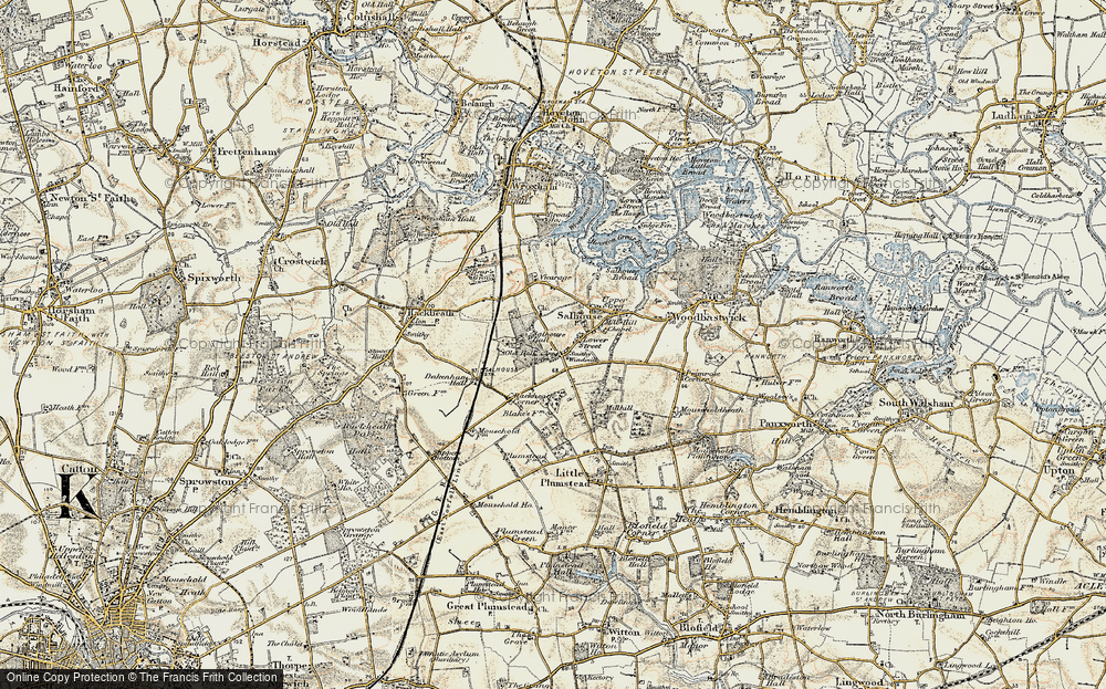 Old Map of Salhouse, 1901-1902 in 1901-1902