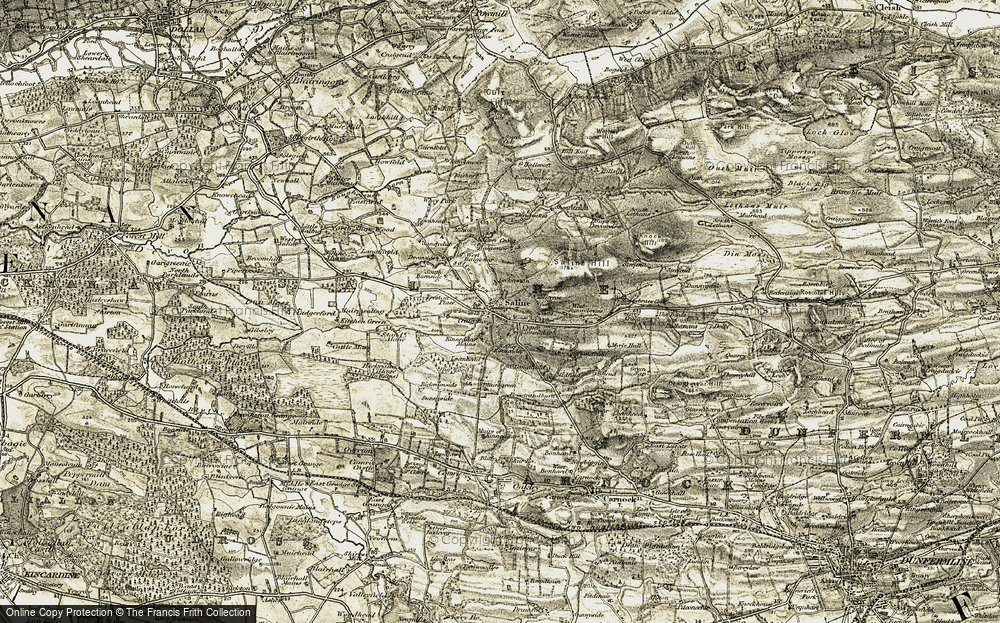 Old Map of Historic Map covering Aiky Hill in 1904-1906