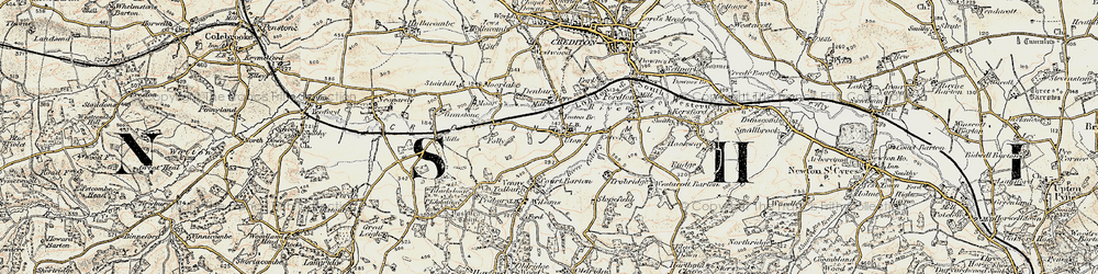 Old map of Yeoton Br in 1899-1900
