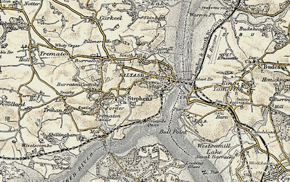 Old map of Saltash in 1899-1900