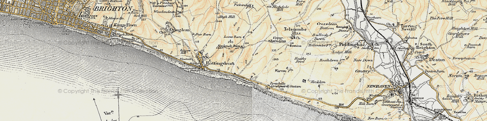 Old map of Saltdean in 1898
