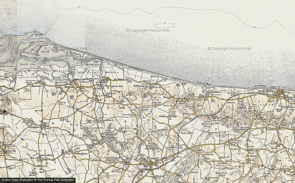 Old Map of Historic Map covering Bard Hill in 1901-1902
