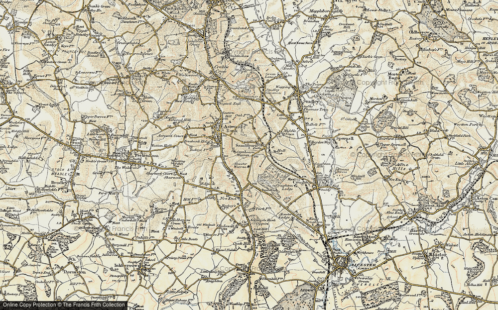 Old Map of Historic Map covering Alcester Warren in 1899-1902