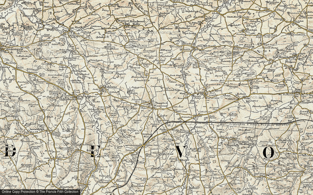 Old Map of Historic Map covering Langmead in 1899-1900