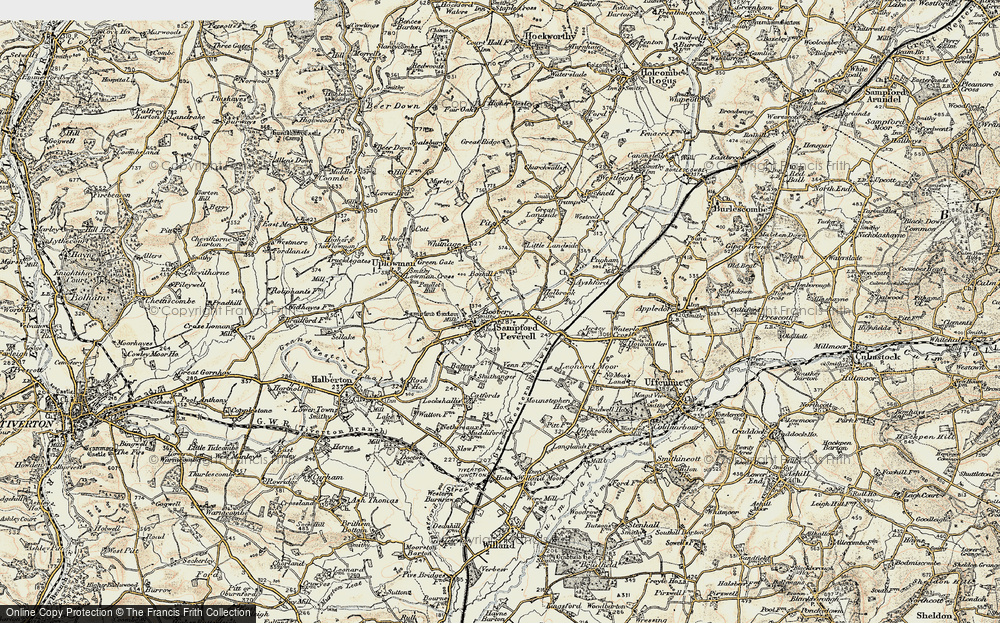 Old Map of Sampford Peverell, 1898-1900 in 1898-1900