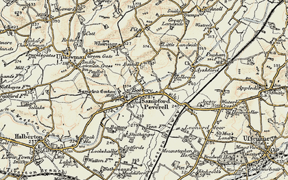 Old map of Sampford Peverell in 1898-1900