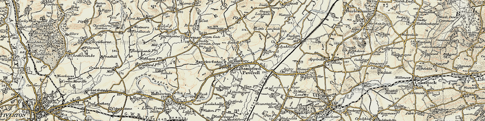 Old map of Tiverton Parkway in 1898-1900