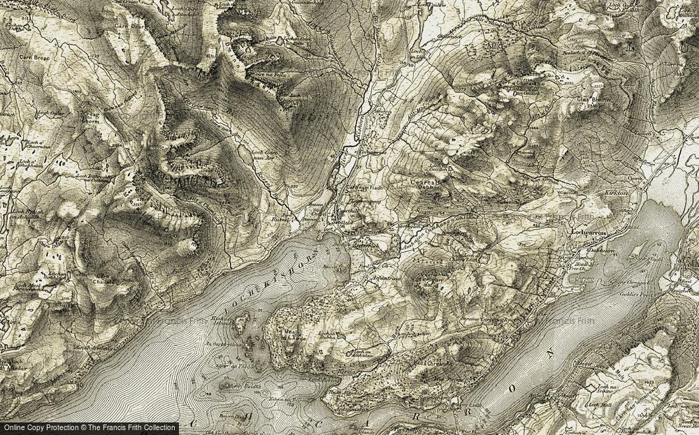 Old Map of Historic Map covering Abhainn Cumhang a' Ghlinne in 1908-1909