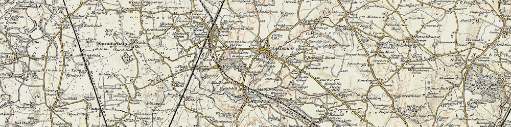 Old map of Sandbach in 1902-1903