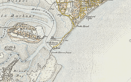 Old map of Brownsea Island in 1899-1909