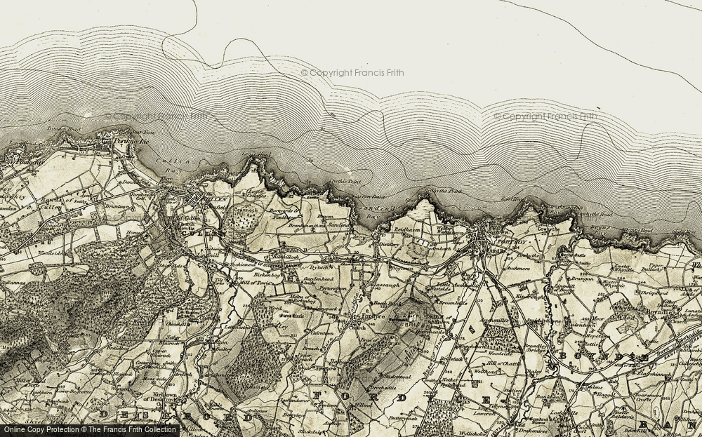 Old Map of Sandend, 1910 in 1910