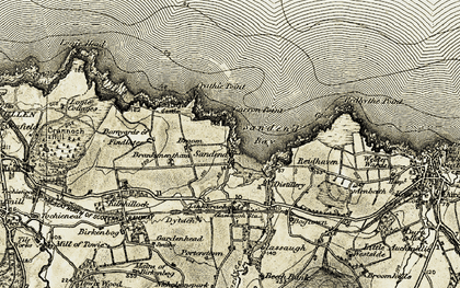 Old map of Sandend in 1910