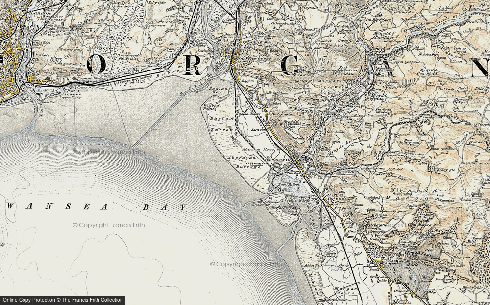 Old Map of Historic Map covering Aberavon Sands in 1900-1901