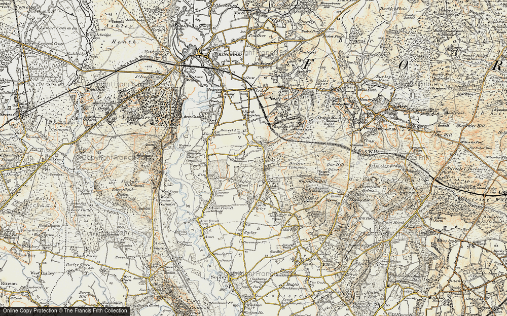 Old Map of Historic Map covering Avon Tyrrell in 1897-1909