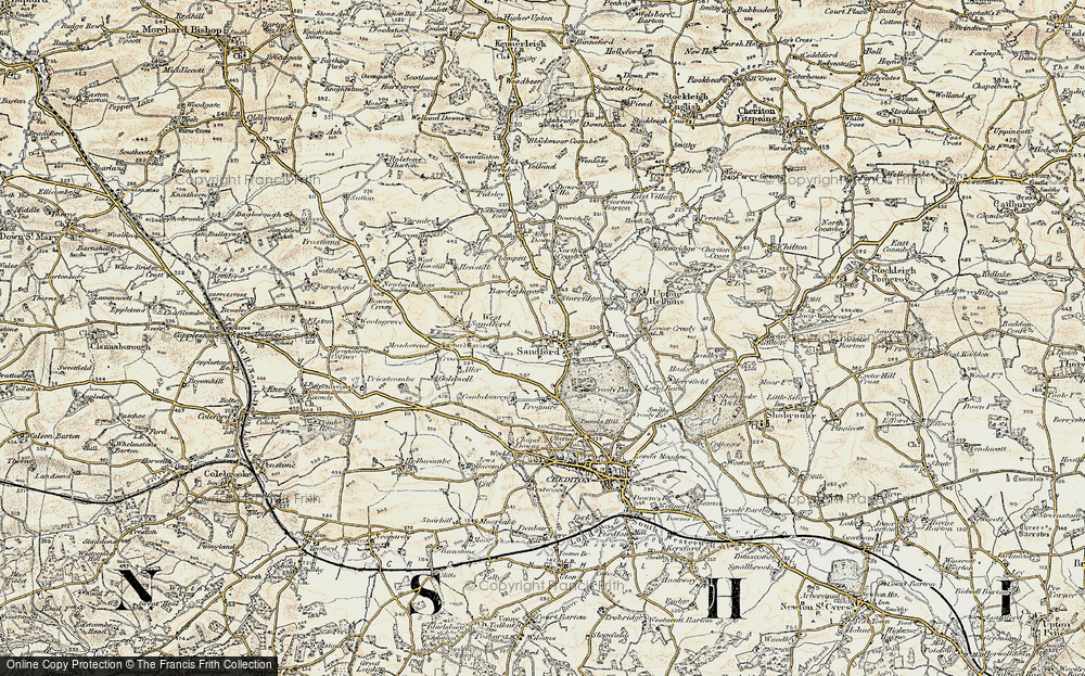 Old Map of Historic Map covering Aller Down in 1899-1900