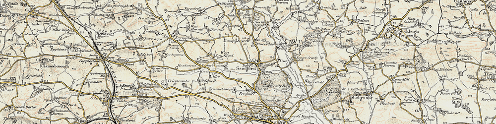 Old map of Aller Down in 1899-1900