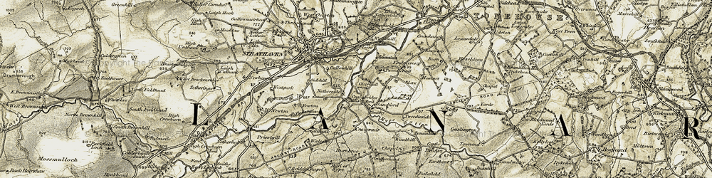Old map of Whinknowe in 1904-1905