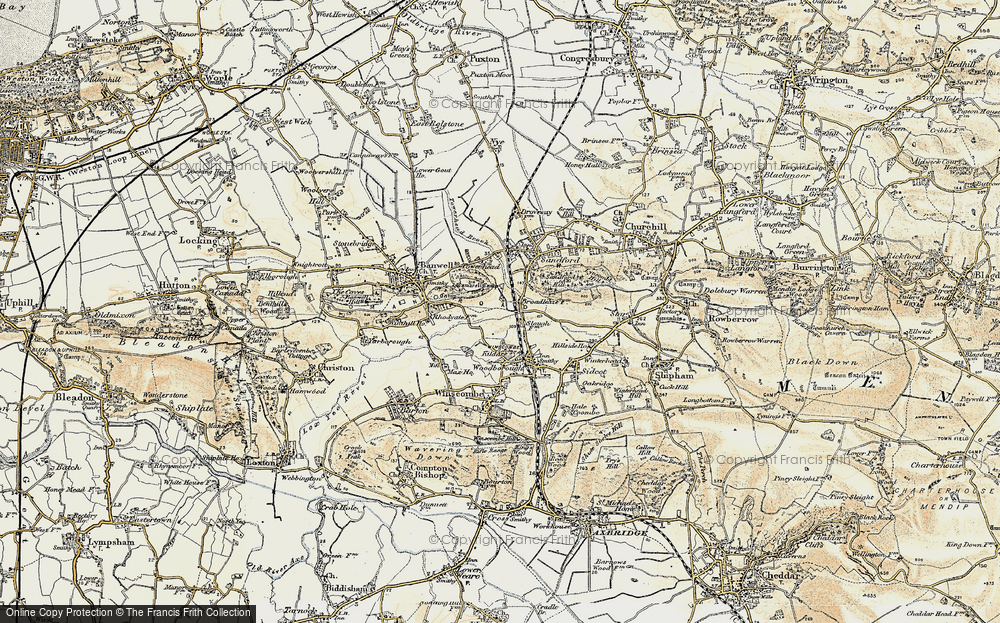 Old Map of Historic Map covering Banwell Castle in 1899-1900
