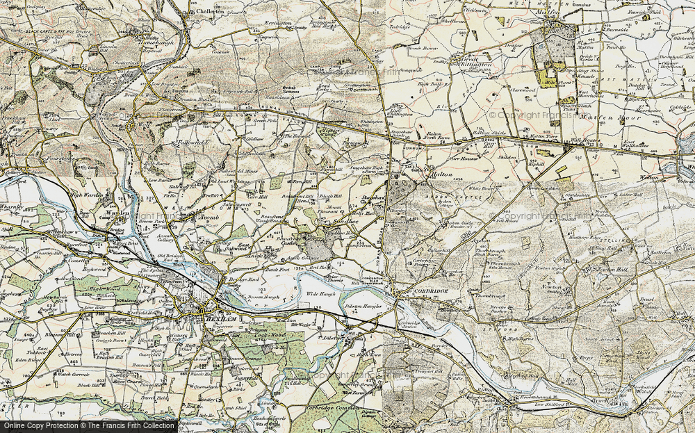 Old Map of Historic Map covering Acomb Fell in 1901-1903