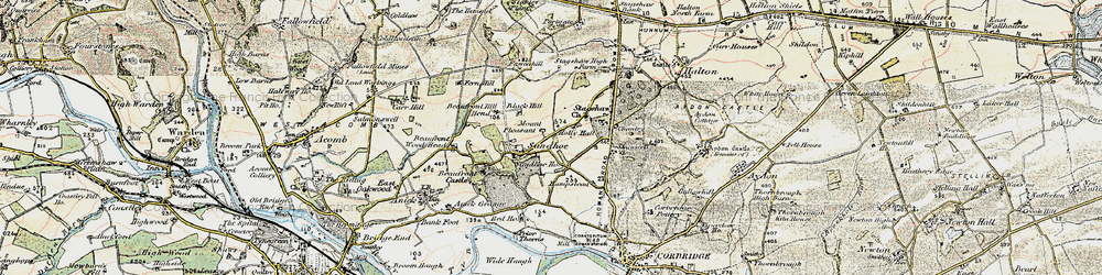 Old map of Acomb Fell in 1901-1903