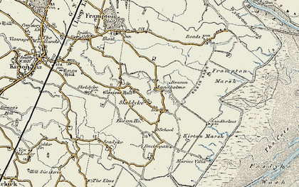 Old map of Wyberton Marsh in 1901-1902