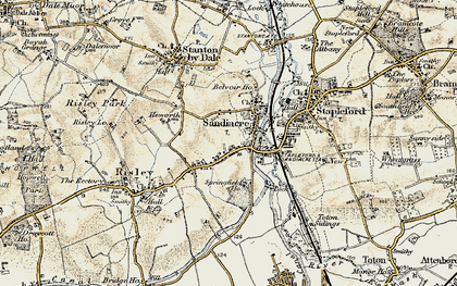 Old map of Sandiacre in 1902-1903