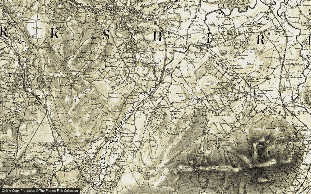 Old Map of Historic Map covering Woodlands in 1904-1905