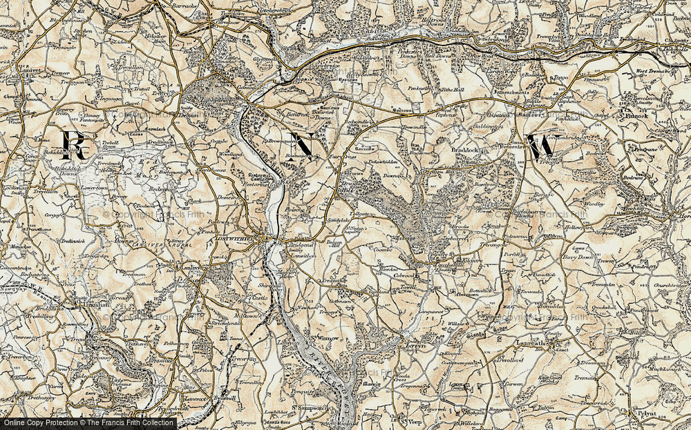 Old Map of Historic Map covering Tollgate in 1900