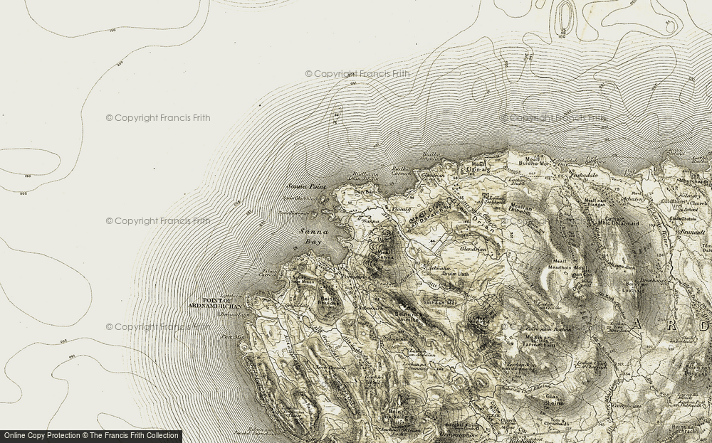Old Map of Historic Map covering Allt Sanna in 1906-1908