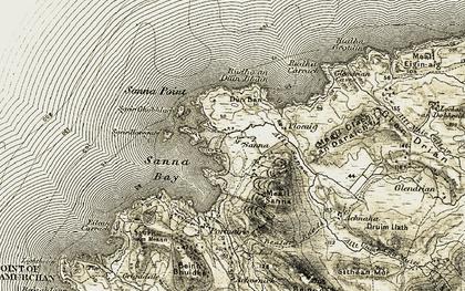 Old map of Allt Sanna in 1906-1908