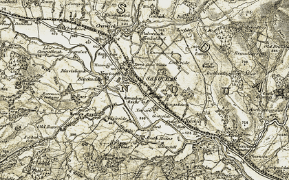 Old map of Whing Burn in 1904-1905