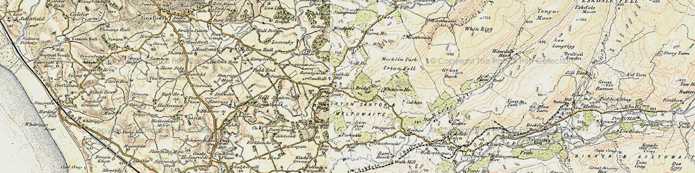 Old map of Santon Bridge in 1903-1904