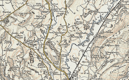 Old map of Ystlys-y-coed isaf in 1900-1901