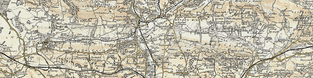 Old map of Sarn in 1900