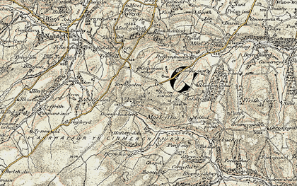 Old map of Afon Concwest in 1902-1903