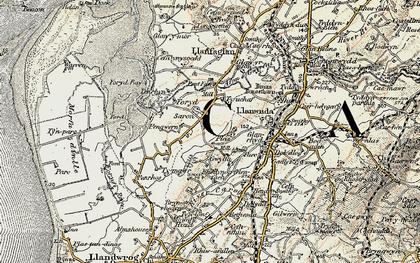 Old map of Afon Gwyrfai in 1903-1910