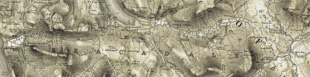 Old map of Allt Grillan in 1908-1909