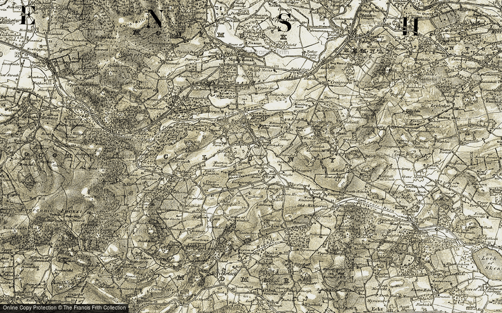 Old Map of Historic Map covering Woodlands in 1909