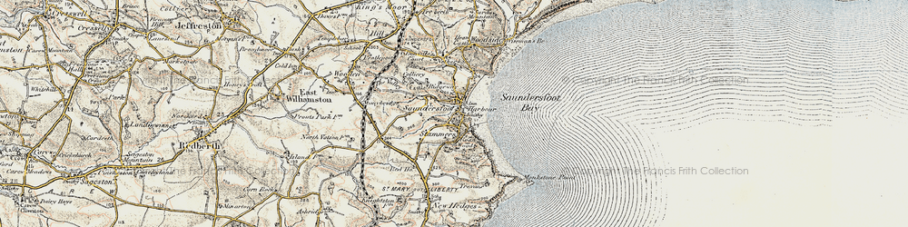Old map of Saundersfoot in 1901