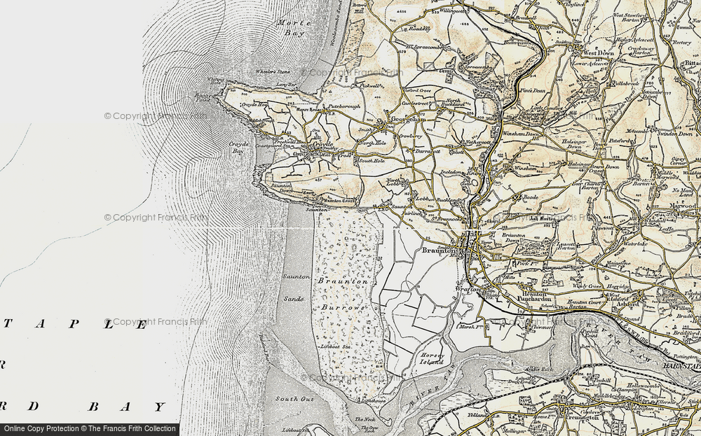 Old Map of Saunton, 1900 in 1900