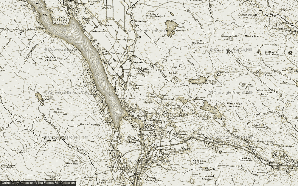 Old Map of Historic Map covering Allt Chaiseagall in 1910-1912