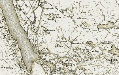 Old map of Allt Chaiseagall in 1910-1912