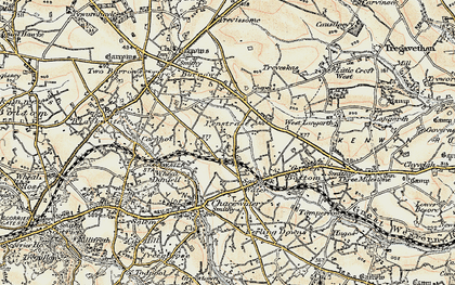 Old map of Saveock in 1900