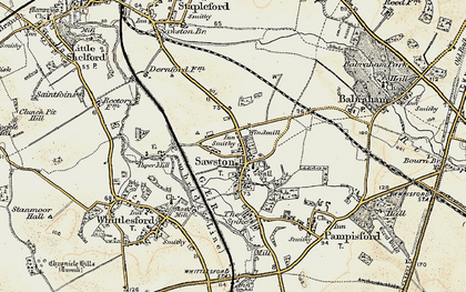 Old map of Sawston in 1899-1901