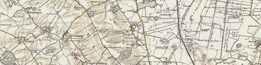 Old map of Sawtry in 1901