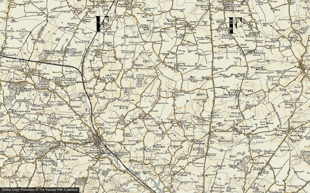 Old Map of Historic Map covering Lapwings in 1899-1901