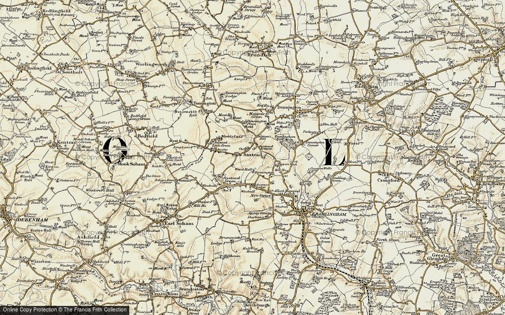 Old Map of Historic Map covering Wood Hall in 1898-1901