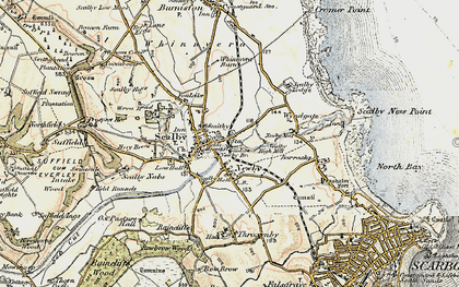 Old map of Scalby in 1903-1904