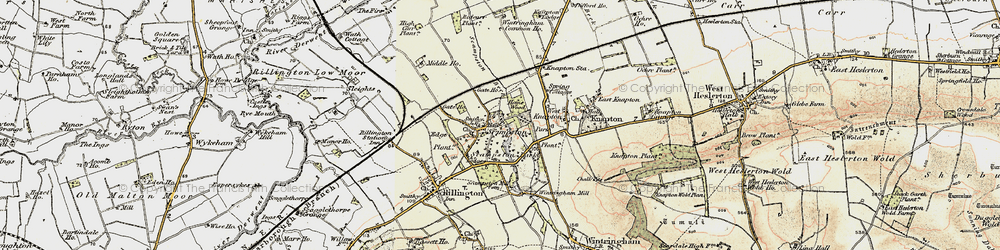 Old map of Scampston in 1903-1904